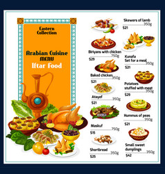 Arabian cuisine traditional dishes food menu vector