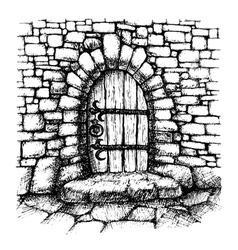 Arched door in a stone wall scatch vector image