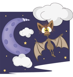 Bat and the moon vector