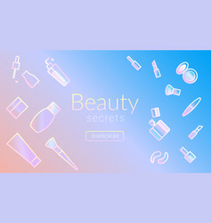 beauty secrets commercial promo banner design with vector image