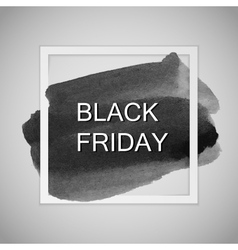 black friday label on watercolor stain vector image
