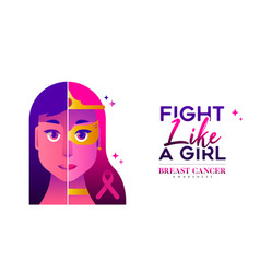 Breast cancer awareness concept for women fight vector