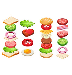 Burger and sandwich ingredients set bun cheese vector