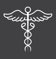 caduceus line icon medicine and healthcare vector image