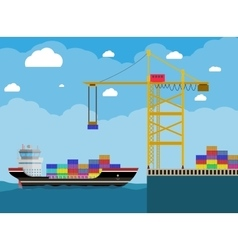 Cargo ship and container crane vector