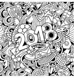cartoon cute doodles hand drawn 2018 football vector image