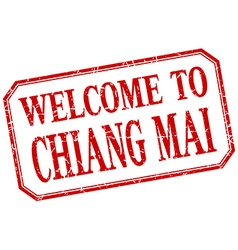 Chiang mai - welcome red vintage isolated label vector