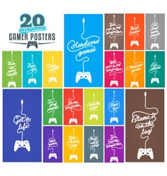 Collection of Gaming Related Posters vector image