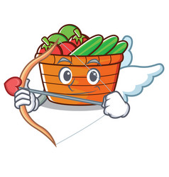 Cupid fruit basket character cartoon vector
