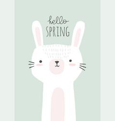 cute bunny with hello spring vector image