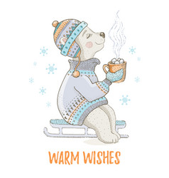 Cute christmas bear animal polar teddy merry vector