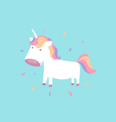 Cute unicorn baby pony for fairy animal concept vector