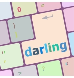 Darling button on computer pc keyboard key vector