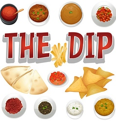 different kind dips and chips vector image