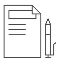 Document and pen thin line icon paper and pencil vector