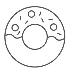 Donut thin line icon food and sugar cake sign vector