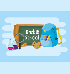 Education blackboard with backpack and art palette vector