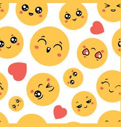 emoticons seamless pattern emoji happy faces vector image