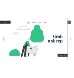 Farmer shearing sheep website landing page vector
