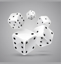 five white game dices casino gambling vector image