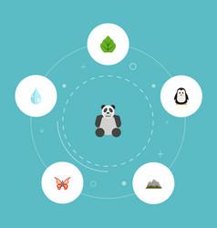 flat icons landscape foliage bear vector image