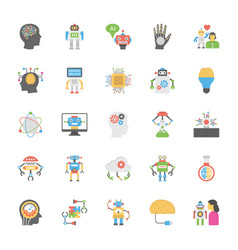 Flat icons set of artificial intelligence vector