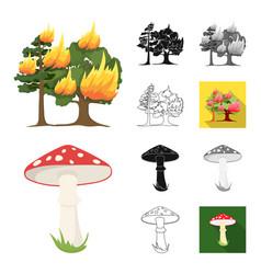 Forest and nature cartoonblackflatmonochrome vector