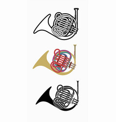 french horn instrument cartoon music graphic vector image