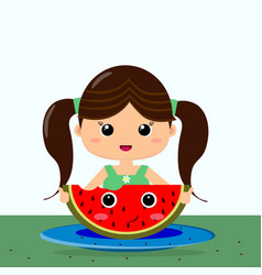 girl and watermelon smile in cartoon style vector image