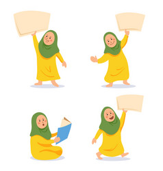 girl moslem kids character bring blank paper set vector image