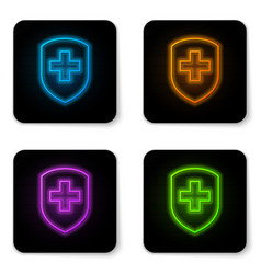 glowing neon medical shield with cross icon vector image