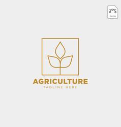 Gold agriculture farm line badge vintage logo vector