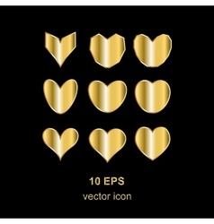 Golden heart on black vector