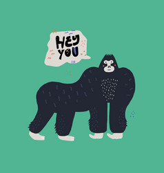 Gorilla hand drawn vector
