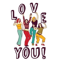 Group young woman love sign color vector image