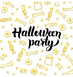 Halloween Party Gold Greeting Card vector