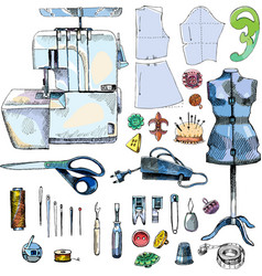 Hand drawn sketch sewing set color vector