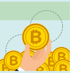 hand holding golden bitcoin cryptocurrency vector image