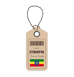 hang tag made in ethiopia with flag icon isolated vector image