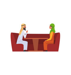 happy arab family couple in national clothes vector image