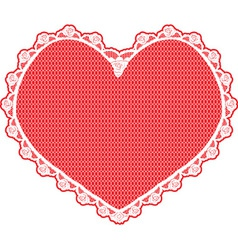 heart shape lace doily white on red background vector image
