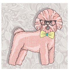 Hipster bichon with glasses and bowtie vector image