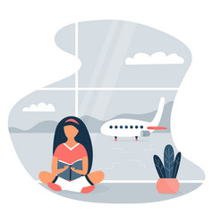 Image of a reading girl at the airport vector