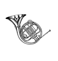 Jazz french horn in monochrome engraved vintage vector