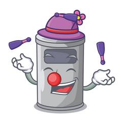 Juggling cartoon steel trash can in the office vector