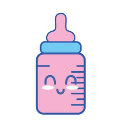 Kawaii cute happy feeding bottle vector