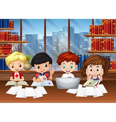 Kids working in the library vector