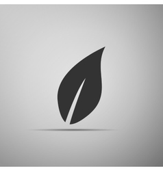 Leaf icon on grey background Adobe vector