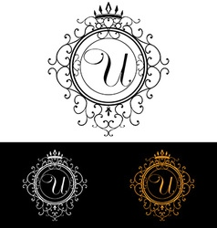 Letter U Luxury Logo template flourishes vector