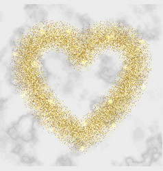 Luxury gold glitter heart frame vector